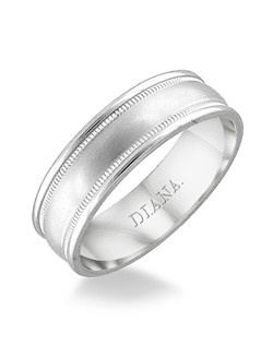 Engraved comfort fit men's wedding band with brush finish and milgrain detail. Available in Platinum, 18K & 14K Gold and in White, Yellow or Rose Gold.