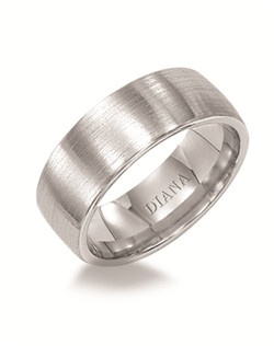 Comfort fit men's wedding band with brush finish and rolled edge. Available in Platinum, 18K & 14K Gold and in White, Yellow or Rose Gold.