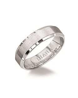 Engraved comfort fit men's wedding band with bevel edge and brush finish. Available in Platinum, 18K & 14K Gold and in White, Yellow or Rose Gold.