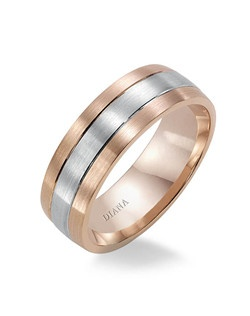 Two-tone brushed satin finish men's wedding band with comfort fit. Available in Platinum, 18K & 14K Gold and in White, Yellow or Rose Gold.