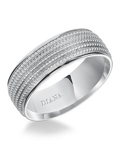 Comfort fit engraved men's wedding band with textured finish. Available in Platinum, 18K & 14K Gold and in White, Yellow or Rose Gold. Price listed is an estimate only.