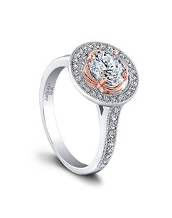 (0.35 ttl) Sweet and romantic, with an sense of sophistication. Pavé set diamonds glitter around a stunning rosette, where your center stone can be properly enjoyed and admired. The charming rose gold setting lends the Henna Engagement Ring an unmistakable aura of femininity, while its bold, brilliant halo exudes drama and complexity. Can be custom made to fit any shape center stone. Hand crafted in either Platinum, 18K Gold or 14K Gold. (Price Details:Price excludes center stone)