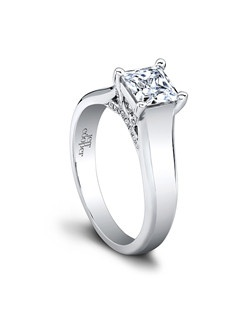 (0.10ct ttl) Unrivaled perfection. The gorgeous center diamond atop the intricate pavé lattice setting is enthroned within a wide shank with a beveled edge. The brilliance of Ginger's diamond is enhanced by the subtle, clean polish of its band. Can be custom made to fit any shape center stone. Hand crafted in either Platinum, 18K, or 14K Gold.(Price Details:Price excludes center stone)