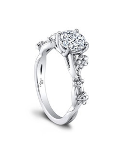 (0.03 ttl) Our Leah Engagement Ring abounds with lavish detail. A fabulous cherry blossom inspired motif adorns the band, and a distinctive dovetail setting highlights the beauty of your center stone. Can be custom made to fit any shape center stone. Hand crafted in either Platinum, 18K Gold or 14K Gold.