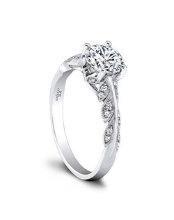 (0.16 ttl) Romantic and special. An imaginative leaf motif graces our Lisette Engagement Ring, creating a stunning backdrop for your round center diamond. Can be custom made to fit any shape center stone. Hand crafted in either Platinum, 18K Gold or 14K Gold.(Price Details:Price excludes center stone)