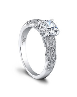 (0.21 ttl) Truly timeless. The Anneliese Engagement ring is an heirloom in the making, with its timeless, regal silhouette and intricate details. With a cascading, dimensional pattern in spectacular diamonds, it's sheer wattage makes it impossible to ignore. Can be custom made to fit any shape center stone. Hand crafted in either Platinum, 18K Gold or 14K Gold.(Price Details:Price excludes center stone)