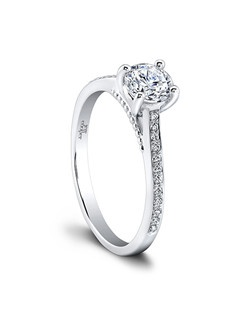 (0.11 ttl) Uniquely captivating. The Thalia Engagement Ring's brilliant pavé set diamonds taper toward the top, to make your center stone stand out and be noticed. A striking beaded gallery adds to the intriguing detail. Can be custom made to fit any shape center stone. Hand crafted in either Platinum, 18K Gold or 14K Gold.