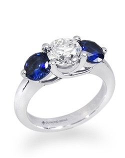 Shown is 14K white gold with 1.5ctw sapphire side stones (included in price) and 1.5ct center diamond (not included).
