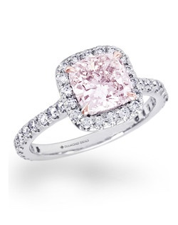 Shown in platinum with rose gold prong around the fancy pink cushion diamond.(Price excludes center stone)