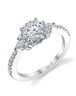 This stunning semi-mount is shown with a 1ct center diamond. Available in 18K white or yellow gold and platinum. Prong set for durability with diamonds calibrated to 1/100th of a millimeter. Settings can be custom made to fit any size or shape center stone. Total weight of semi-mount 0.35 Ct. Matching band available - Style number DR-524A(Price excludes center stone)