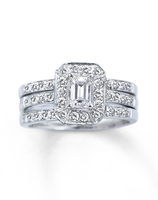 kay jewelers diamond bridal set 1 1 5 ct tw emerald cut. Black Bedroom Furniture Sets. Home Design Ideas
