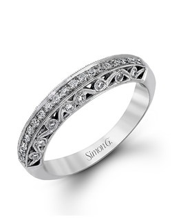 18K white gold band comprised of 0.28ctw round white diamonds.