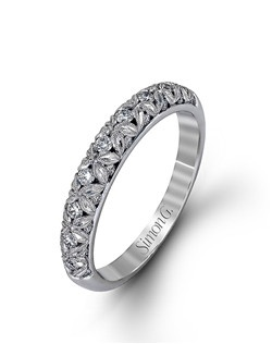 18K white gold band comprised of 0.32ctw round white diamonds.