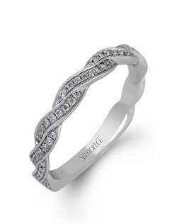 18K white gold band comprised of 0.24ctw round white diamonds.