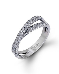 18K white gold band comprised of 0.71ctw round white diamonds.