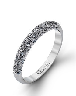 18K white gold band comprised of 0.15ctw round white diamonds.