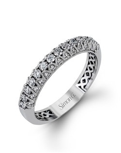 18K white gold band comprised of 0.46ctw round white diamonds.
