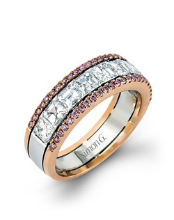 18K white and rose gold band comprised of 0.28ctw round pink diamonds and 1.67ctw asscher cut diamonds.
