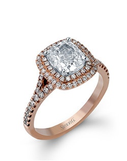 18K rose gold ring comprised of 0.54ctw round white diamonds.
