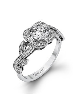18K white gold ring comprised of 0.33ctw round white diamonds.
