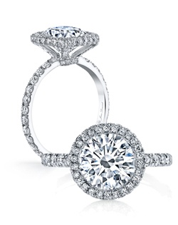 Handcrafted, custom made Jean Dousset signature design.  Available in all diamond cuts - Shown with Round Brilliant Cut and Cushion Cut diamond center stones.  Available in platinum or 18k gold - Pictured in Platinum.  Includes your choice of damond or gem Signature Stone, exclusively by Jean Dousset.