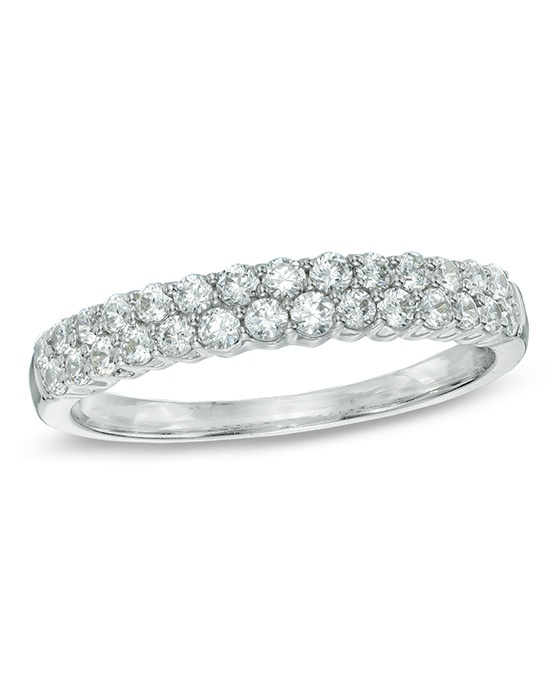 Zales 1 2 CT T W Diamond Two Row Anniversary Band in 14K White Gold