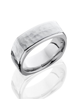 This Cobalt Chrome men's wedding band is 8mm wide with a custom flat euro-square design and grooved edges. This ring is carefully hammered and polished to create brilliant texture to this unique and modern design.