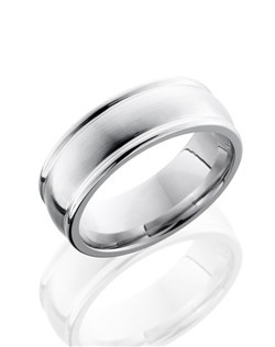 This masculine Cobalt Chrome men's wedding band is 8mm wide with a custom dome design and carved rounded edges. This ring is polished to create a lustrous satin finish for a sophisticated design.