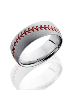 This unique Cobalt Chrome men's wedding band is 8mm wide with custom dome design with an etched red baseball pattern brings out his personality, and is sure to win over his heart.
