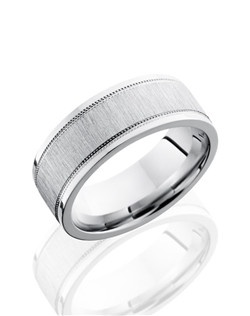 This Cobalt Chrome men's wedding band is 8mm wide with a custom flat design, an elevated center and two wide-set milgrain details. This ring is cross polished to create a modern satin finish.