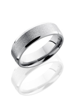 This masculine Titanium men's wedding band is 6mm wide featuring a unique beveled stone design with a polish finish.