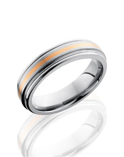 This Titanium men's wedding band is 6mm and has a custom flat design with carved rounded edges. This ring has a 1mm 14K Rose Gold inlay between two milgrain edges and a glossy satin polished finish.