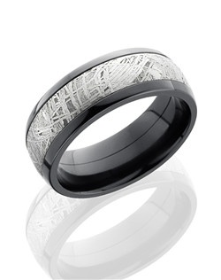 This masculine Black Zirconium men's wedding band is 8mm wide with a custom dome design and a 5mm meteorite stone inlay with a polished finish. This unique ring is both striking and durable made from authentic Gibeon Meteorite that was formed millions of years ago, has cooled and crystalized, and has fallen to the Earth.