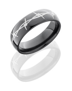 This rugged Black Zirconium men's wedding band is 7mm wide with a custom dome design and etched barbwire in silver. This ring is sure to bring out his unique personality.
