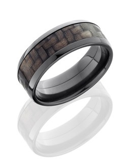 This impressive Black Zirconium men's wedding band is 8mm wide with a beveled design and a 5mm Carbon Fiber inlay. Black Zirconium produces a lustrous black coating when it is heat treated which makes it very scratch resistant and options for versatile custom designs.