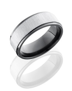 This sophisticated Black Zirconium men's wedding band is 8mm wide with our carved flat design and grooved edges. This ring is cross polished to a glossy satin finish.