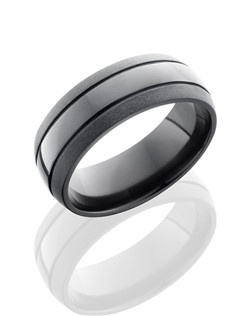 This unique Black Zirconium men's wedding band is 8mm wide with a custom dome design, two .5mm deep concaves and a beadblast polished finish. The beadblast process creates a smooth texture and a matte finish for the exterior of the ring.