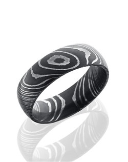 This ultra-durable Damascus steel men's wedding band is 7mm wide with a custom dome design and finished with an acid stain to create a lustrous shine.