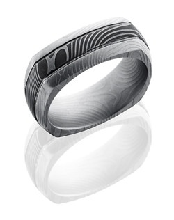 This intricate Damascus steel men's wedding band is 8m wide with a custom dome squared design and two .5mm etched grooves. This ring has a flat-twist pattern in the steel and our unique acid stain and beadblast finish. The beadblast process creates a smooth texture and a matte finish for the exterior of the ring.
