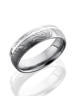This masculine Damascus steel men's wedding band is 7mm wide with a custom dome design and one 1mm off centered inlay of sterling silver.