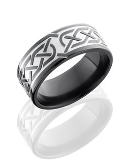 This masculine Black Zirconium men's wedding band is 9mm wide with a custom flat design and comfort fit. This ring has the Celtic 5 pattern etched into the Black Zirconium. This Celtic knot pattern represents the endless Celtic Knot that reminds us of the timelessness of our spirits eternally bound to one another.