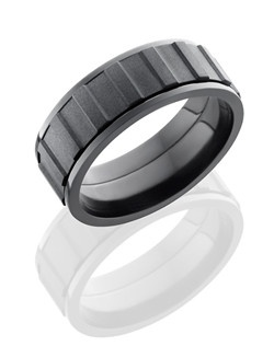 This intricate Black Zirconium men's wedding band is 8mm wide with a flat design and comfort fit. This ring is carved to form a gear spinner that rotated around the finger and then it is sand-blasted for a dark shimmered finish.