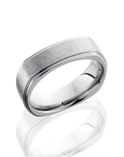 This stunning Titanium men's wedding band is 7mm wide with a custom flat comfort fit design. This ring has square grooved edges for a modern twist to this classic style ring.