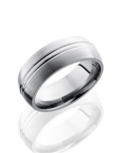 This unique Titanium men's wedding band is 8mm wide with a custom dome design and is polished to a lustrous satin finish. This ring has two center grooves that wrap around the finger to create a sophisticated design.