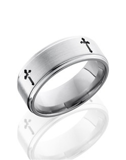 This intricate Titanium men's wedding band is 8mm wide with a custom flat comfort fit design. This ring has grooved edges and four carved crosses to symbolize your faith.