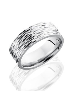 This modern Cobalt Chrome men's wedding band is 8mm wide with a custom flat comfort fit design. This ring is carefully carved to form tree bark texture that finishes this nature inspired design.