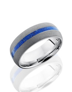 This intricate Cobalt Chrome men's wedding band is 8mm wide with a custom dome design. This ring contains one 2mm Blue Lapis inlay and is sandblasted for a dark shimmer finish. This ring is the right touch of modern and classic design.