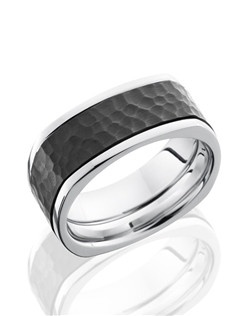 This striking Cobalt Chrome men's wedding band is 9mm wide with a custom flat square design with one 6mm wide Black Zirconium inlay. This ring is carefully hammered and polished for a lustrous shine.