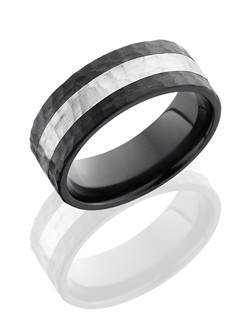 This remarkable Black Zirconium men's wedding band is 8mm wide with a custom flat design. This ring includes one 3mm Sterling Silver inlay and is carefully hammered for eye-catching texture.