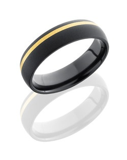 This intricate Black Zirconium men's wedding band is 6mm wide with a custom dome design. What makes this ring so impressive is the 1mm off centered 14K Yellow Gold inlay and this ring is bead-blasted for a smooth matte finish.